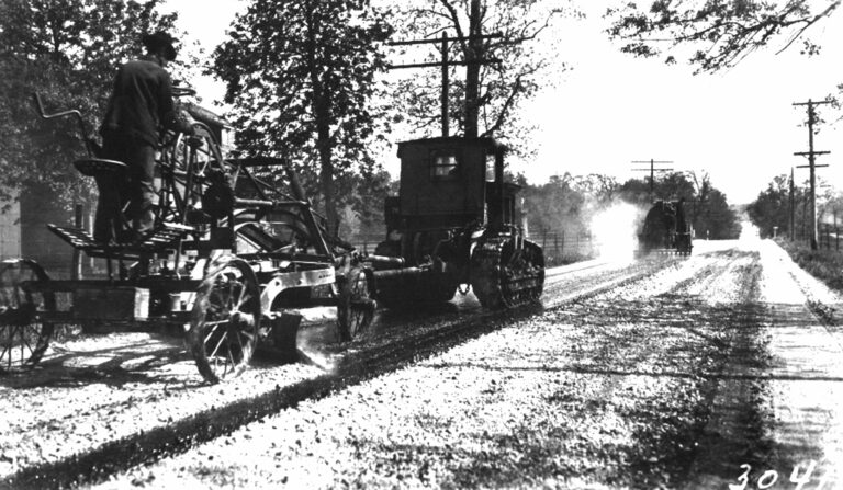 Tractor drawn blade mixing operation in 1929.